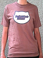 Brown T-shirt with white cathead logo with dark blue outline and CD Combo Pack