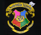 Black t-shirt with The Weird Sisters crest on the front of the shirt. Crest is a replica of the cover of The Weird Sisters CD.