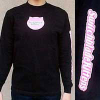 Black Long Sleeve Shirt with Pink Shimmer Logo